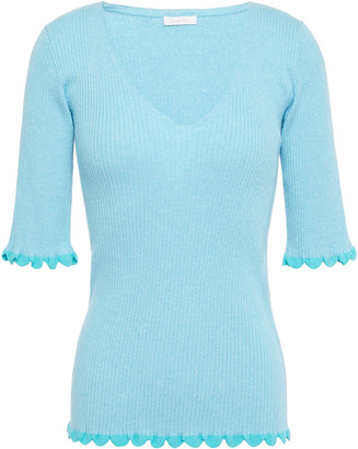 See by Chloe Scalloped Ribbed Cotton-blend Top