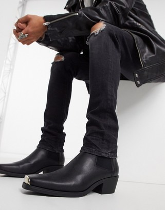 ASOS DESIGN cuban heel western chelsea boots in black faux leather with metal hardware