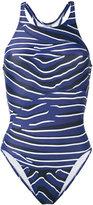 adidas by Stella McCartney zebra one-piece swimsuit - women - Elastodiene/Polyamide/Polyester/Spandex/Elastane - XS