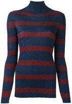 Cédric Charlier striped roll neck pullover - women - Polyester/Rayon - 40