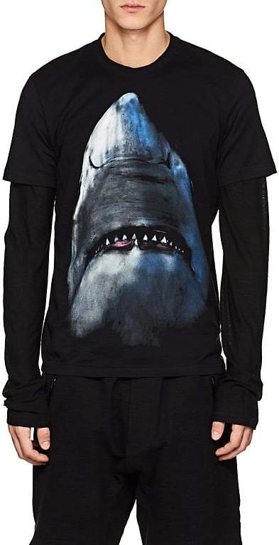 Givenchy Men's Shark-Print Cotton Cuban-Fit T-Shirt