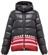 Moncler 1 Pierpaolo Piccioli - Gabrielle Striped-hem Padded Hooded Jacket - Womens - Black Pink