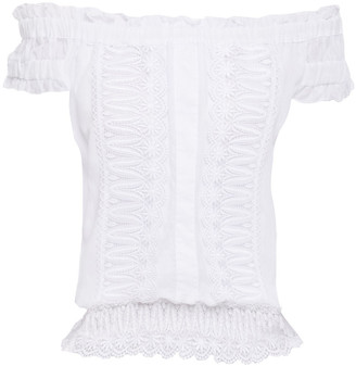 Charo Ruiz Ibiza Tiana Off-the-shoulder Crocheted Lace-paneled Cotton-blend Voile Top