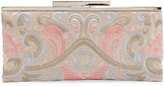 Neiman Marcus Embroidered Linen Clutch Bag