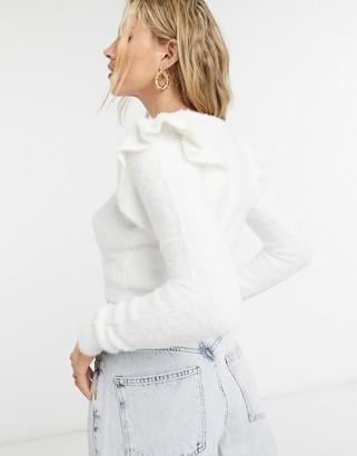 Bershka shoulder frill fluffy jumper in ecru