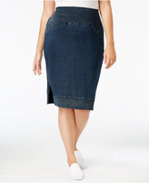 Standards and Practices Trendy Plus Size Denim Pencil Skirt