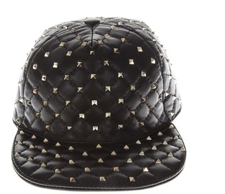 Valentino Black Studs Leather Hat