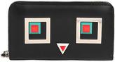 Fendi Faces Leather Zip-Around Wallet