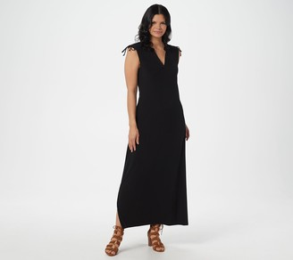 BROOKE SHIELDS Timeless Petite Sleeveless Maxi Dress with Shoulder Tie