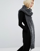 Pieces Long Knitted Scarf in Charcoal