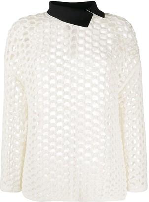3.1 Phillip Lim open-knit contrasting collar jumper