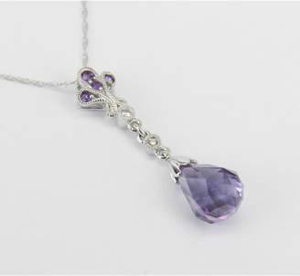 "Margolin & Co 14k White Gold Diamond and Amethyst Briolette Necklace Purple Pendant 18"" Chain February Birthday"