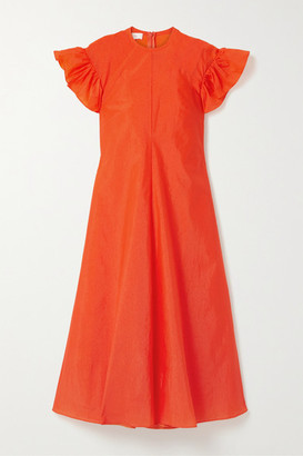 Beaufille Dorado Ruffled Stretch-crepe Midi Dress - Bright orange