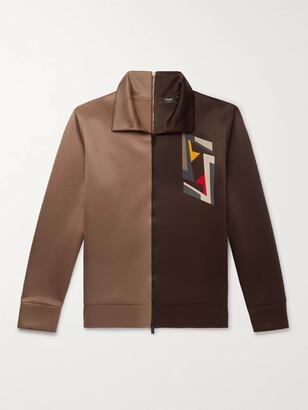 Fendi Logo-Print Two-Tone Tech-Jersey Track Jacket - Men - Brown