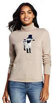 Lands' End Women's Petite Merino Turtleneck Sheep Sweater-Oatmeal Heather Lamb