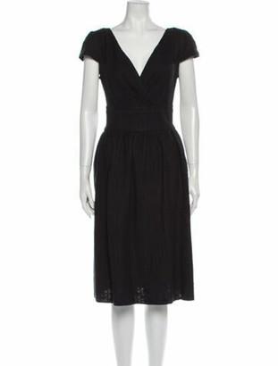 Dolce & Gabbana V-Neck Midi Length Dress Black