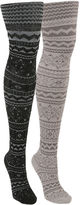 Muk Luks 2-pk. Microfiber Patterned Tights