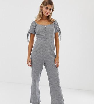 Wednesday's Girl tea jumpsuit in gingham-Blue