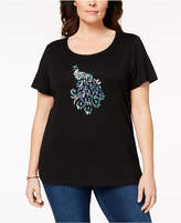 Karen Scott Plus Size Cotton Embellished Peacock T-Shirt, Created for Macy's