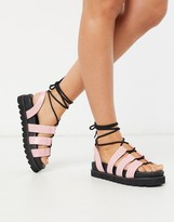 Public Desire Erika chunky tie up sandal in pink