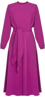 Mila Louise Magenta Pink Open Back Flared Midi Dress