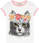 Gucci Children's cat print t-shirt