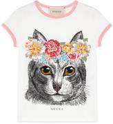Gucci Children's cat print t-shirt
