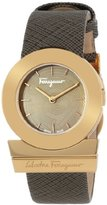 Salvatore Ferragamo Women's FP5020013 Gancino Rose Gold Ion-Plated Coated Stainless Steel Brown Saffiano Leather Watch