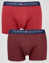 Tommy Hilfiger Icon Houndstooth Stretch Trunks In 2 Pack