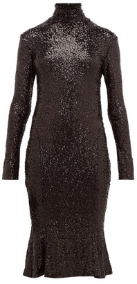 Norma Kamali High-neck Sequinned Fishtail-hem Dress - Black