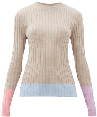 J.W.Anderson Colour-block Merino-wool Sweater - Womens - Beige Multi