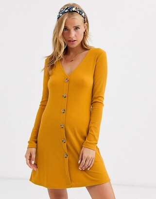 Brave Soul skyla rib dress with button front-Yellow