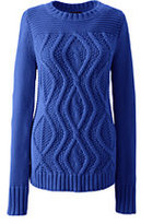 Classic Women's Petite Drifter Cotton Cable Sweater-Cobalt