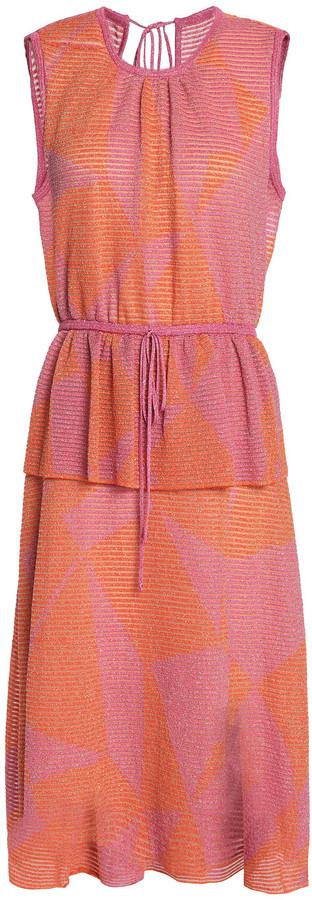 M Missoni Printed Metallic Crochet-knit Peplum Dress