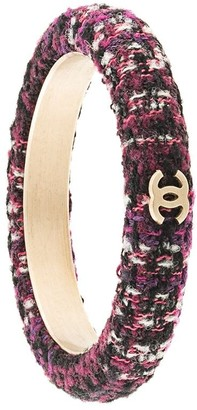 Chanel Pre Owned CC Logos Tweed Bangle
