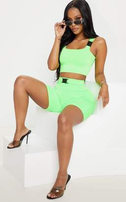 PrettyLittleThing Shape Neon Lime Buckle Strap Crop Top