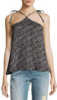 Rebecca Taylor Sweet Briar Sleeveless Halter Tank Top, Black Pattern