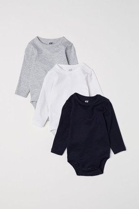 H&M 3-pack Long-sleeved Bodysuits - Blue
