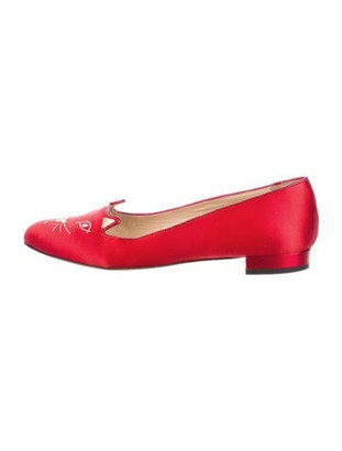 Charlotte Olympia Kitty Embroidered Accent Loafers Red