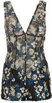 SILK READY TO WEAR Black and blue floral stretch lace playsuit with embroidery