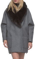 Andrew Marc Carine Double Breasted Wool Shawl Coat