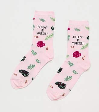 New Look Beleaf In Yourself Slogan Socks
