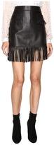 Just Cavalli Fringe Leather Skirt