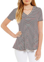 Daniel Cremieux Grace Stripe V-Neck Knit