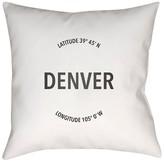 """Surya City Compass Denver Pillow - White (18"""" x 18"""")"""