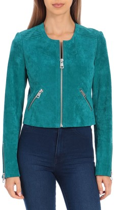 Bagatelle Women's Sport Genuine Suede Crop Moto Jacket