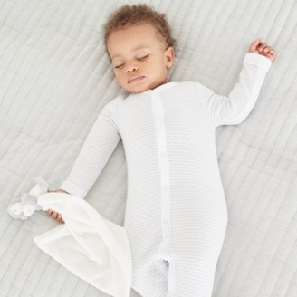 The White Company Grey Quilted Sleepsuit, Grey Stripe, 18-24mths