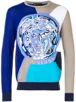 Versace colour block logo sweatshirt
