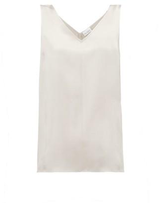Raey High V-neck Silk Cami Top - Grey
