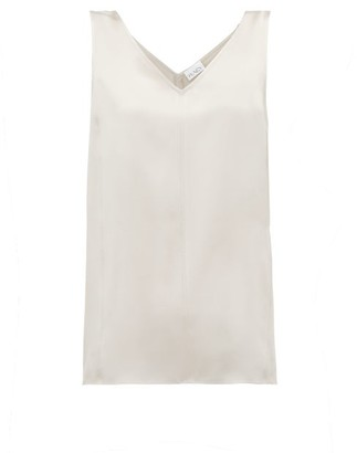 Raey High V-neck Silk Cami Top - Womens - Grey